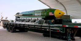 A US Air Force file image of the GBU-43B Massive Ordnance Air Blast (MOAB) bomb in an undisclosed location. Photo: AFP/Getty Images