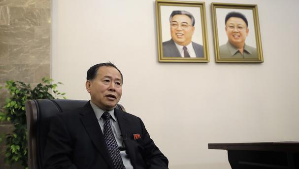 Han Song Ryol accused President Donald Trump of making trouble with aggressive tweets (AP Photo/Wong Maye-E)