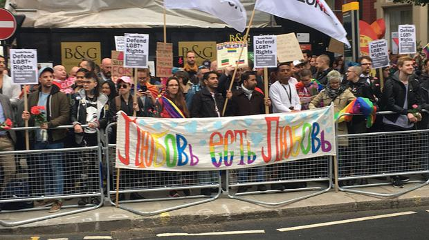 People hold a protest outside Russian Embassy in London, following reports of the torture and murder of gay men in Chechnya