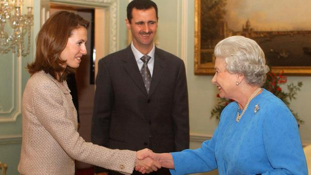The Queen received Asma Assad and Syrian president Bashar Assad at Buckingham Palace in 2012