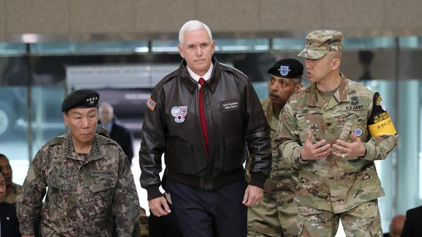 Mike Pence arrives at the border village of Panmunjom in the Demilitarised Zone which has separated the two Koreas since the Korean War (AP Photo/Lee Jin-man)