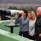 Vice President Mike Pence with his daughters at Observation Post Ouellette in the demilitarised zone on the North and South Korea border.