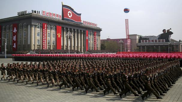 Soldiers march across Kim Il Sung Square during a military parade in Pyongyang to celebrate the 105th birth anniversary of Kim Il Sung (AP)