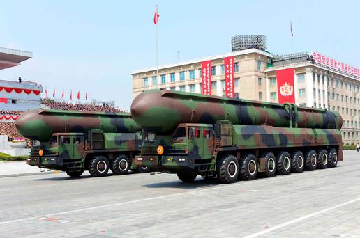 Missiles on the backs of trucks during a military parade in Kim Il-Sung Square, Pyongyang, last weekend Photo: AFP PHOTO / KCNA VIA KNS