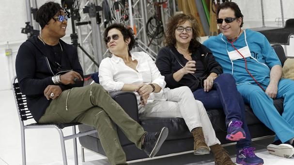 Left to right: Four original members of Prince's 1980's band The Revolution - bassist BrownMark, guitarist Wendy Melvoin, keyboarders Lisa Coleman and Matt Fink, are preparing for a spring tour (AP)