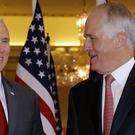 US vice president Mike Pence, left, with Australia's prime minister Malcolm Turnbull (Pool photo/AP)