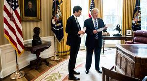 Trump with White House Senior Adviser and son-in-law Jared Kushner, left, in the Oval Office in Washington. Photo: AP