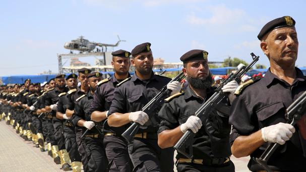 Palestinian Hamas security forces march during a ceremony. (AP/Adel Hana)