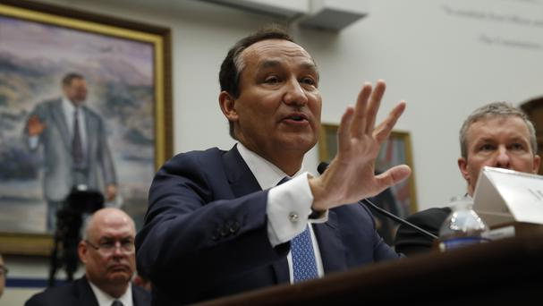 United Airlines chief executive Oscar Munoz testifies on Capitol Hill in Washington (AP)