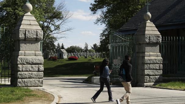 The exhumation is taking place at Holy Cross Cemetery in Yeadon, a suburb of Philadelphia (AP)