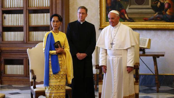 Aung San Suu Kyi, left, with Pope Francis, right, at the Vatican (Tony Gentile/Pool Photo via AP)