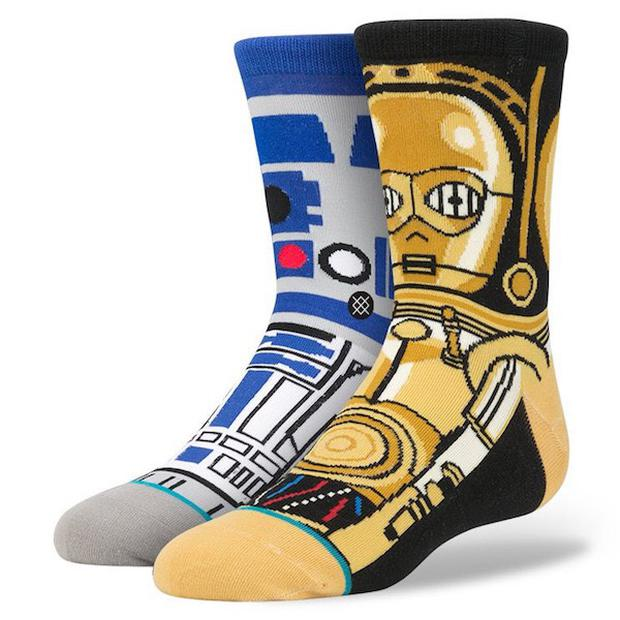 The socks symbolise Star Wars robots, R2D2 and C3PO.