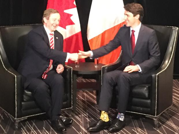 Taoiseach Enda Kenny meets Canadian Prime Minister Justin Trudeau in Montreal