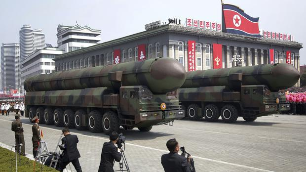 Missiles are paraded across Kim Il Sung Square during a military parade in Pyongyang (Wong Maye-E/AP)