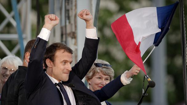 French presidential candidate Emmanuel Macron campaigns in Albi, southern France. Photo: AP
