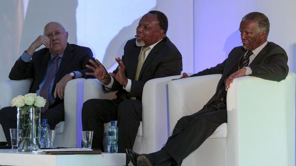 Former South African presidents, left to right, FW de Klerk, Kgalema Motlanthe and Thabo Mbeki in Johannesburg (AP)