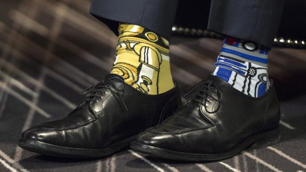 Canada's prime minister Justin Trudeau wearing Stars Wars-themed socks on May 4 (Paul Chiasson/The Canadian Press via AP)