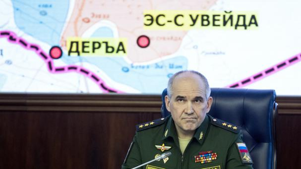 Colonel General Sergei Rudskoi of the Russian General Staff outlines the agreement setting up four de-escalation zones (AP)
