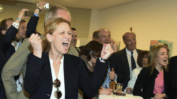 Celebrations among the Christian Democratic Union after exit polls showed them in front (Marcus Brandt/dpa via AP)