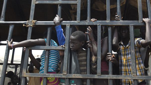 South Sudanese children arrive at a refugee settlement in northern Uganda (AP/Jerome Delay)