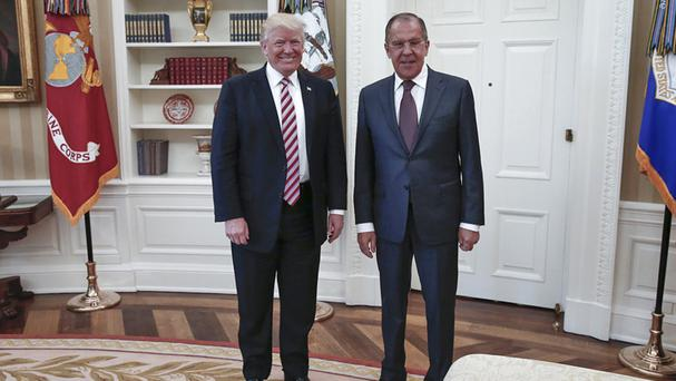 US President Donald Trump meets Russian foreign minister Sergey Lavrov in the White House (Russian Foreign Ministry Photo via AP)