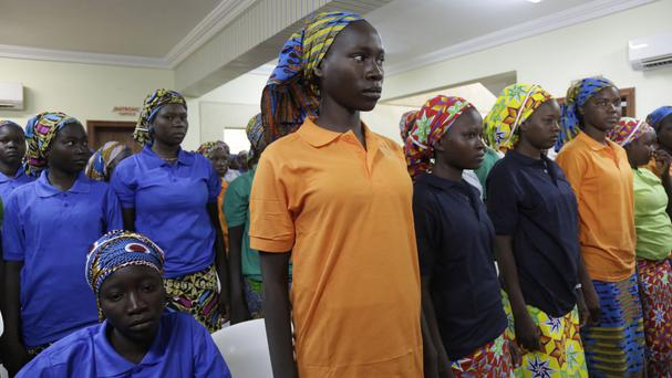 Chibok schoolgirls recently freed from extremist captivity are being cared for by the government in the capital Abuja (Sunday Alamba/AP)