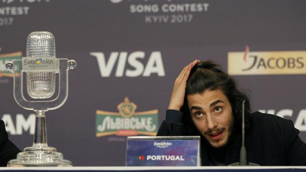 Salvador Sobral from Portugal speaks after winning the final of the Eurovision Song Contest. (AP Photo/Sergei Chuzavkov)