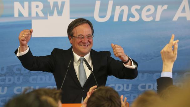 Armin Laschet, of the Christian Democratic Union, celebrates after the state election in the western German state of Northrhine-Westphalia (AP Photo/Michael Probst)