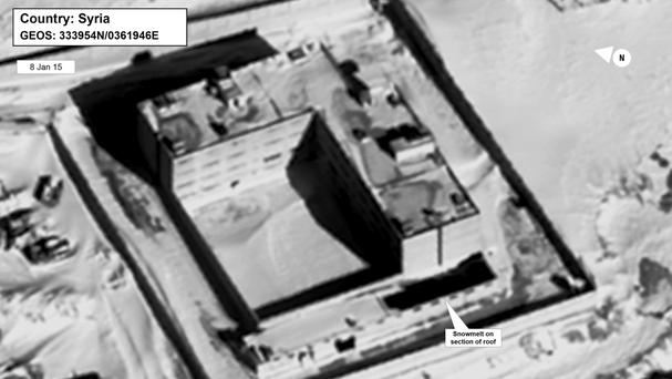 A satellite image of what the US state department described as a building in a prison complex in Syria that was modified to support a crematorium (State Department/DigitalGlobe via AP)