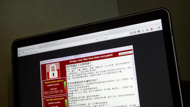 A screenshot of the warning screen from the ransomware attack (AP)