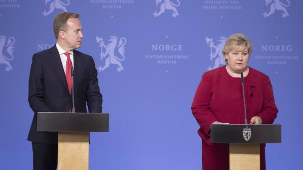Norway's Prime Minister Erna Solberg and Foreign Minister Borge Brende speak at press conference after the release of Norwegian-British Joshua French from a DR Congo prison. (Terje Pedersen/NTB Scanpix/AP)