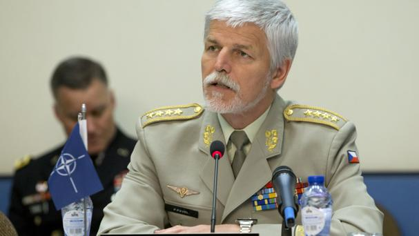 General Petr Pavel delivers the opening address during a meeting of Nato chiefs of defence in Brussels (Virginia Mayo/AP)