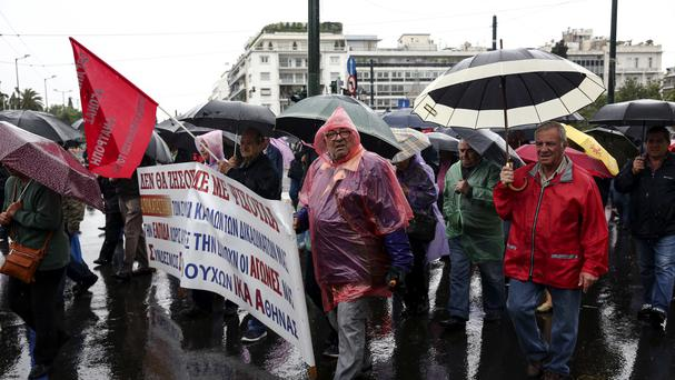 Greek pensioners take part in an anti-austerity rally in Athens (AP)