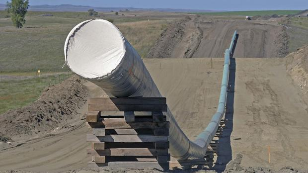 A section of the Dakota Access pipeline under construction near St Anthony in Morton County (AP)