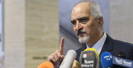Bashar al-Ja'afari briefs the media after a round of negotiations in Geneva (Keystone/AP)