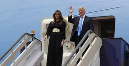 President Donald Trump and Melania Trump arrive at the King Khalid International Airport (AP)