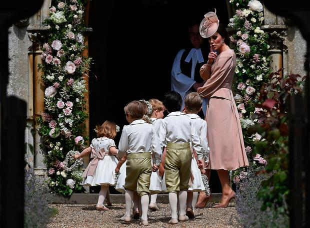 The Duchess of Cambridge arrives with pageboys and flower girls for her sister's wedding Picture: PA