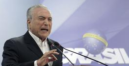 Brazil's President Michel Temer speaks during a national address from the Planalto Presidential Palace, in Brasilia (AP)