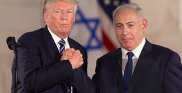 Donald Trump and Benjamin Netanyahu shake hands at the Israel Museum in Jerusalem (AP)