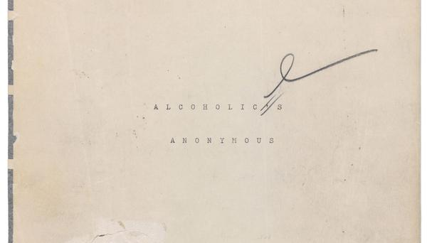 FILE- This undated image released by Profiles in History shows the title page of a manuscript that would become the Alcoholics Anonymous