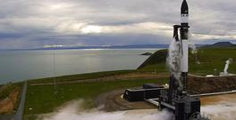 The Electron rocket about to launch in New Zealand (Rocket Lab via AP)