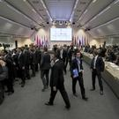 General view of a meeting of oil ministers of the Opec countries at their headquarters in Vienna (AP)