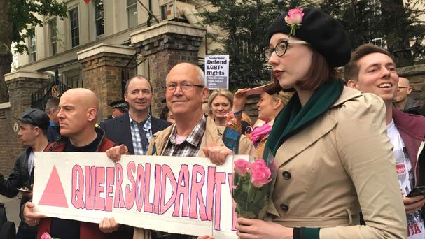 A protest outside the Russian Embassy in London, following reports of the torture and murder of gay men in Chechnya