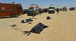 Bodies of some of the victims killed when gunmen stormed a bus in Minya, Egypt. Photo: AP