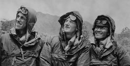 Edmund Hillary (left) and Sherpa Tenzing Norgay (right), with expedition leader Colonel John Hunt (centre) in Katmandu, Nepal, after descending from the peak