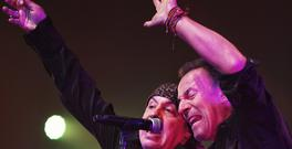 Bruce Springsteen, right, with rocker Steven Van Zandt during the show's encore (Count Basie Theatre/AP)