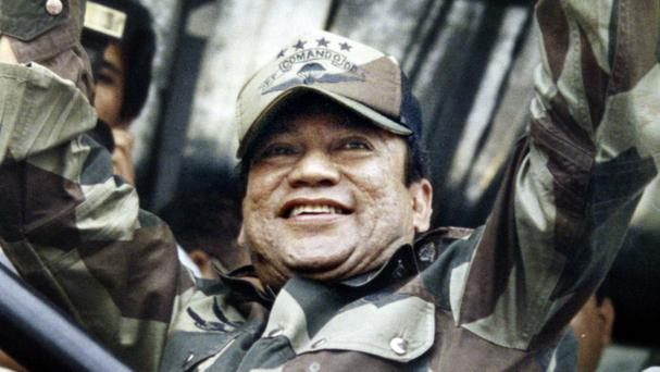 Dictator Manuel Noriega during a Dignity Battalion rally in Panama City in 1988 (AP)