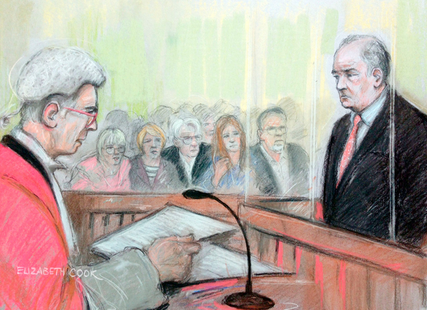 Court artist sketch by Elizabeth Cook of surgeon Ian Paterson in the dock at Nottingham Crown Court. Photo: PA
