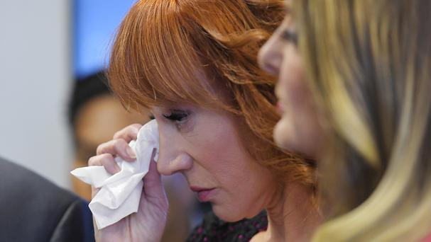 A tearful Kathy Griffin, left, with her lawyer Lisa Bloom during the news conference (AP)