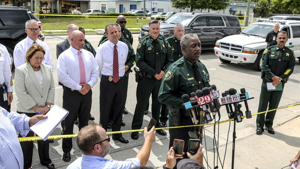 Orange County Sheriff Jerry Demings speaks during a press conference in Orlando (Jacob Langston/Orlando Sentinel via AP)